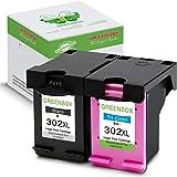 GREENBOX Remanufactured HP 302 XL Cartucce d'inchiostro (1 Nero, 1 Tricromia) Compatibile con HP OfficeJet 4650 HP Envy 4527 HP Envy 4525 HP Envy 4520 HP DeskJet 3636 HP DeskJet 3630 …