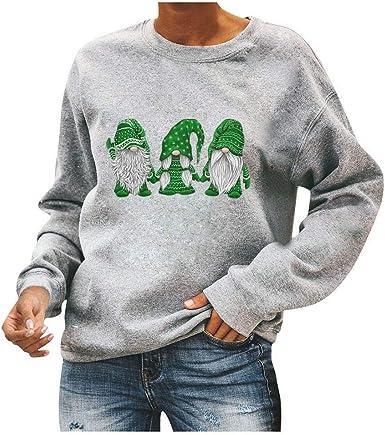 iLOOSKR Fashion Ladies Round Neck Long-Sleeved Sweater Leopard Stitching Printed Sweatshirt T-Shirt Tees Top