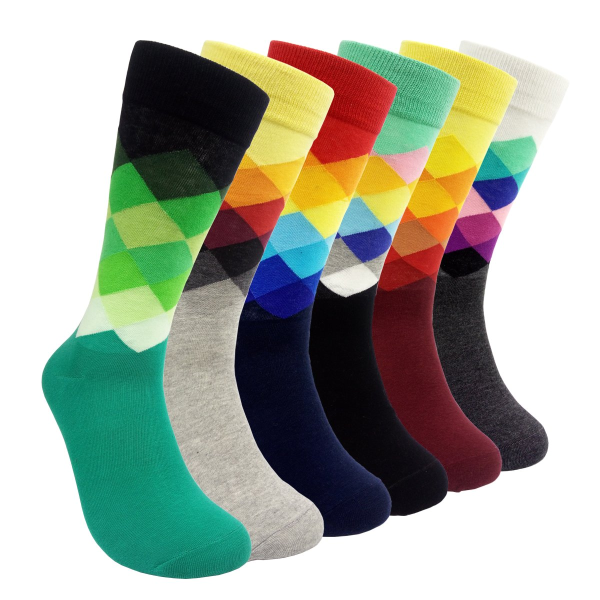 Mens Colorful Dress Socks Argyle - HSELL Men Multicolored Argyle Pattern Fashionable Fun Crew Socks MS026
