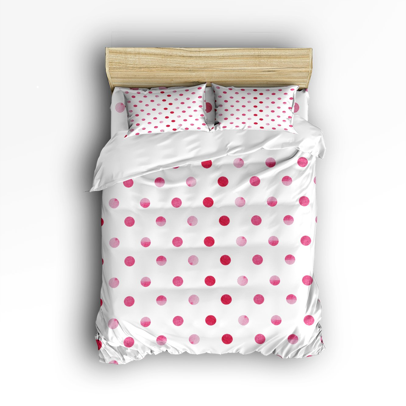 Libaoge 4 Piece Bed Sheets Set, Polka Dot Print, 1 Flat Sheet 1 Duvet Cover and 2 Pillow Cases