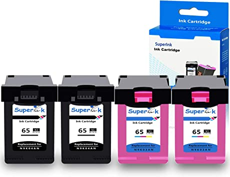 with New Chip use in Envy 5052 5055 5058 DeskJet 2622 2655 2624 3720 3752 3721 Printer SuperInk 3 Pack High Yield Compatible for HP 65 65XL 65 XL N9K03AN N9K04AN Ink Cartridge 2 Black,1 Tri-Color