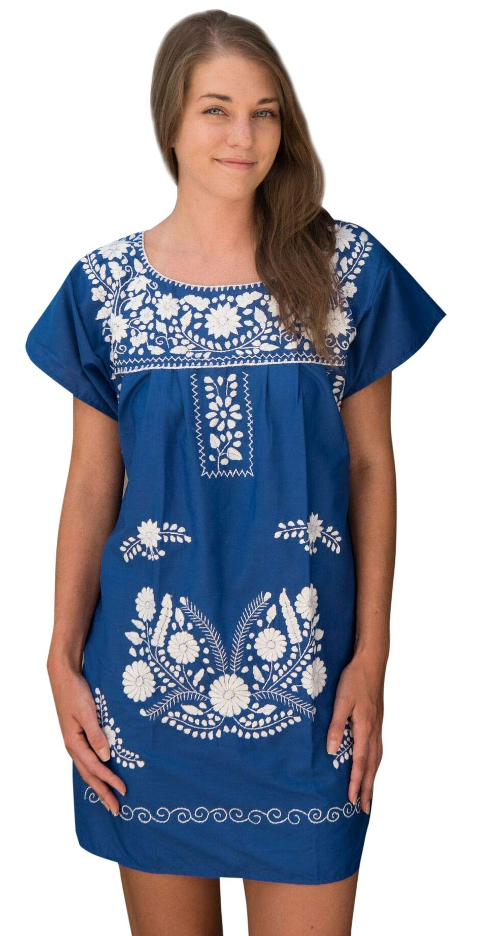 Liliana Cruz Embroidered Mexican Peasant Mini Dress (Blue with White Size Medium)
