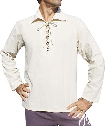 Svenine - Camiseta de manga corta para hombre con cuello de poetas y cuello de algodón suave - Blanco - Large: Amazon.es: Ropa y accesorios