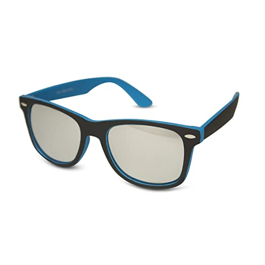 95dc4077637 Black Front w  Colored Temples   Mirror Lens Wayfarer Sunglasses (Blue)