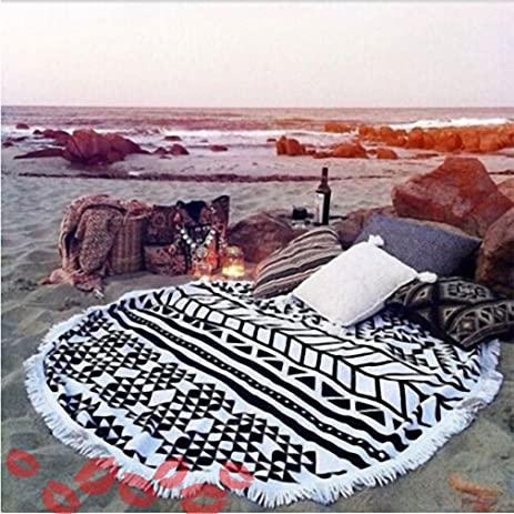 toalla playa Microfiber Round Beach Towel 150cm Bath Towels Tassel Geometric Summer Women Swimming Sunbath serviette