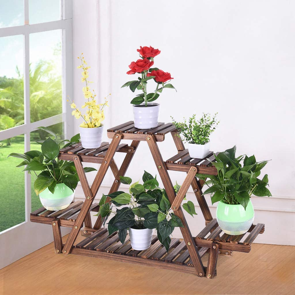 Luonita 6 Tier Wood Plant Stand Indoor Outdoor Multi Layer Flower Shelf Rack Higher and Lower Plant Holder in Garden Balcony Patio Living Room Corner Balcony,US Shipping