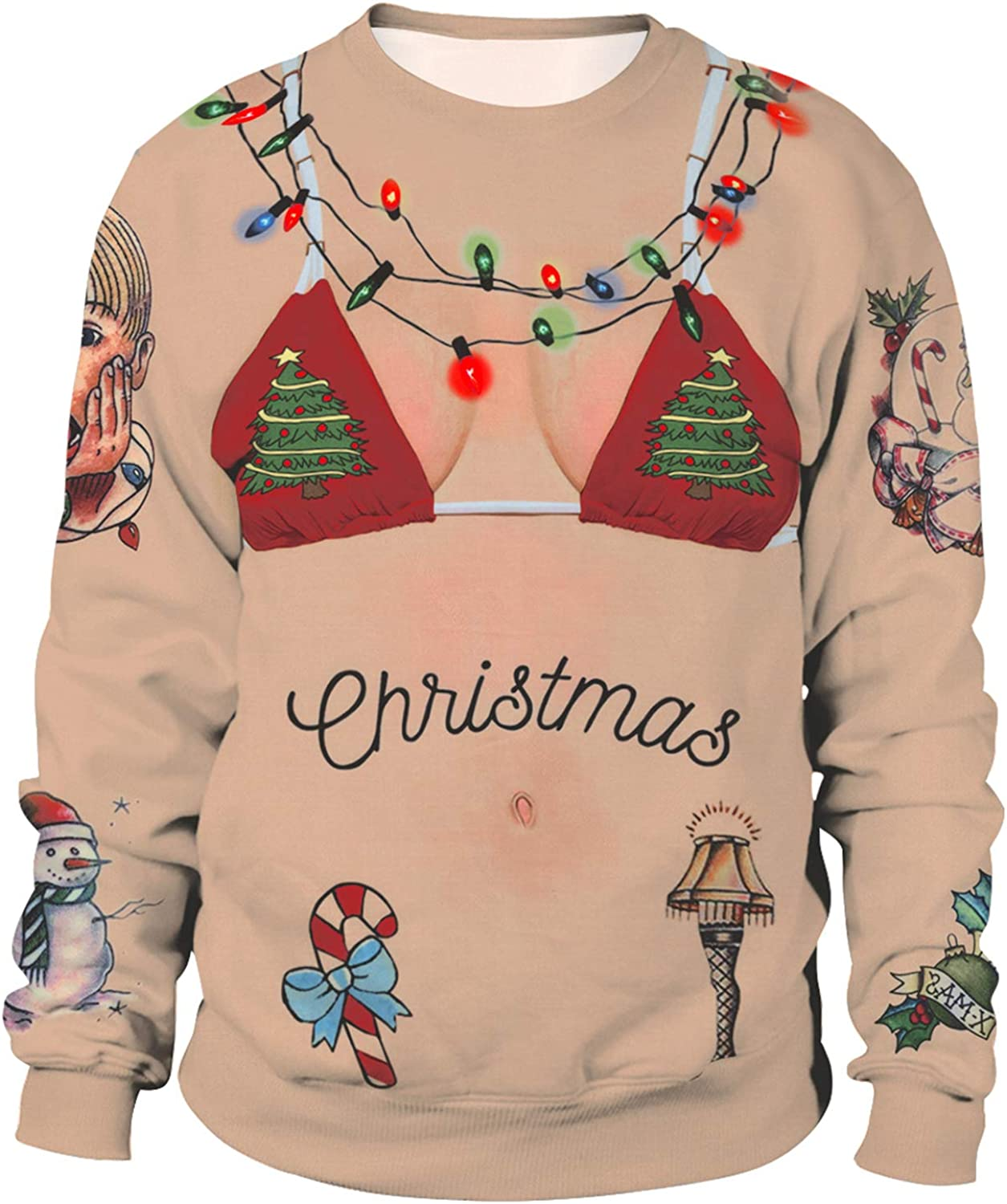 LHJ Unisex Ugly Christmas Sweater 3D Print Funny Xmas Pullover Sweatshirt