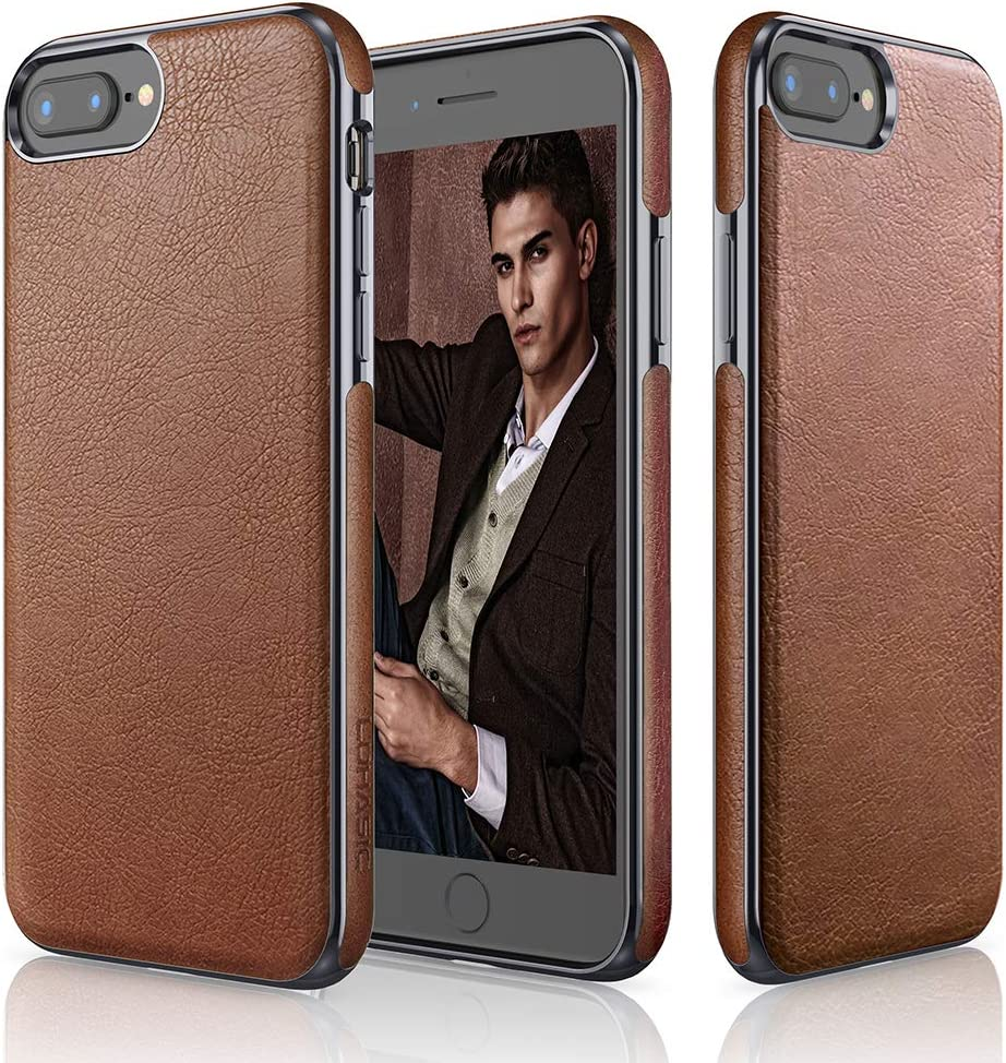 LOHASIC iPhone 8 Plus Case, iPhone 7 Plus Case Premium Leather Slim Fit Soft TPU Frame Cases Protective Cover Compatible with iPhone 8 Plus & iPhone 7 Plus - Brown