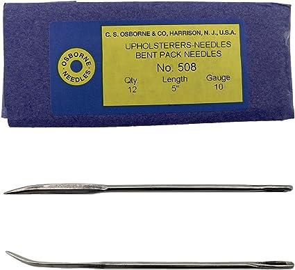 Size 10 Upholsterers Needle C.S Osborne Pack of 12 Bent Pack Needles #508