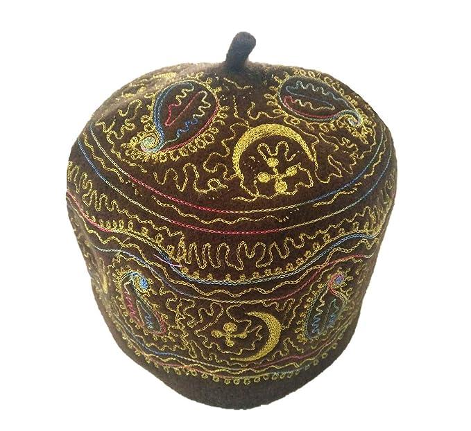 ed1fa538fd536 Inzoey Men's Muslim Embroidered Kufi Wool Prayer Cap Islamic Beanie Turkish  Hat Brown l
