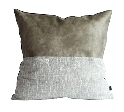 Kdays Halfgray Pillow Cover Designer Modern Throw Pillow Cover Decorative  Faux Leather Pillow Cover Handmade Cushion Cover 20x20 Inches
