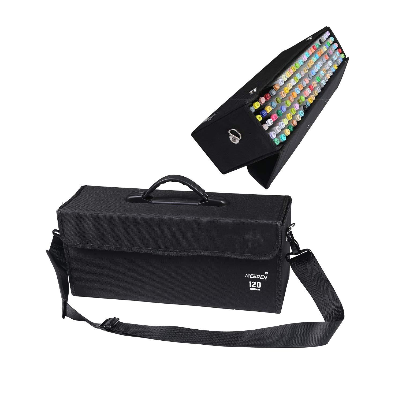 72 Slots MEEDEN Professional Marker Carry Case Lattice Style Empty Holder Marker Storage Bag for Spectrum Noir Pens Letraset Copic Markers