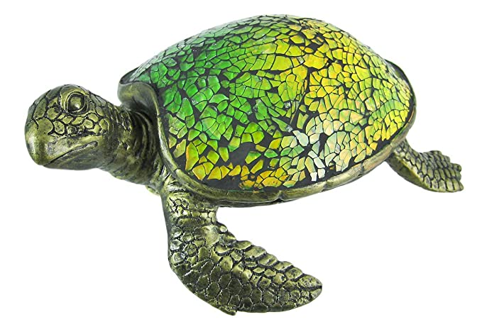 Resin Accent Lamps Cute Mosaic Green Glass Sea Turtle Accent Lamp 8 X 3 X 6