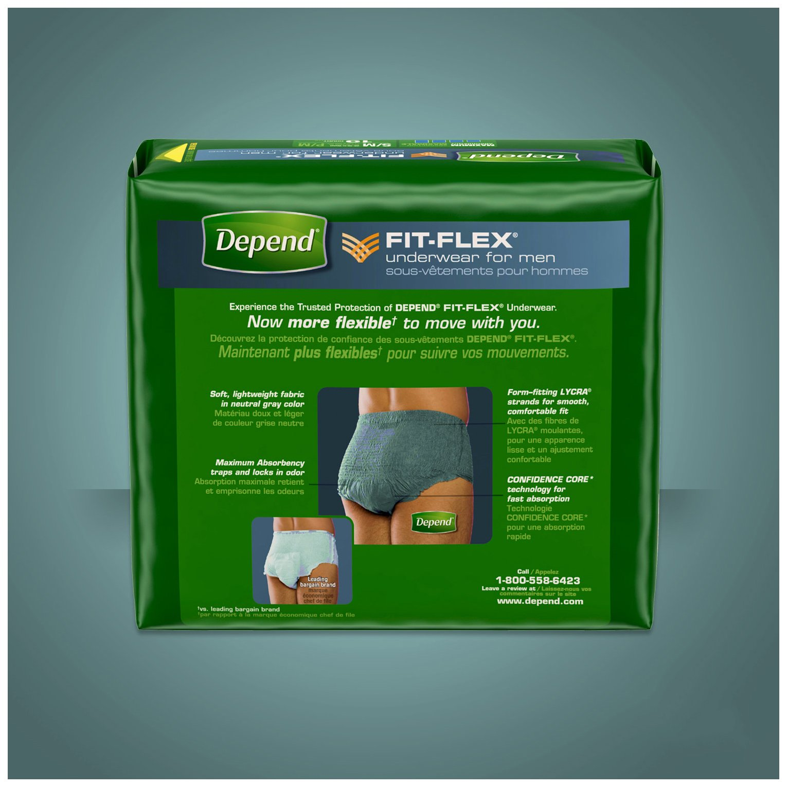 Depend FIT-Flex Incontinence Underwear for Men, Maximum Absorbency, L