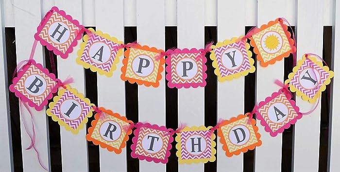 Pink Yellow And Orange Happy Birthday Sunshine Banner