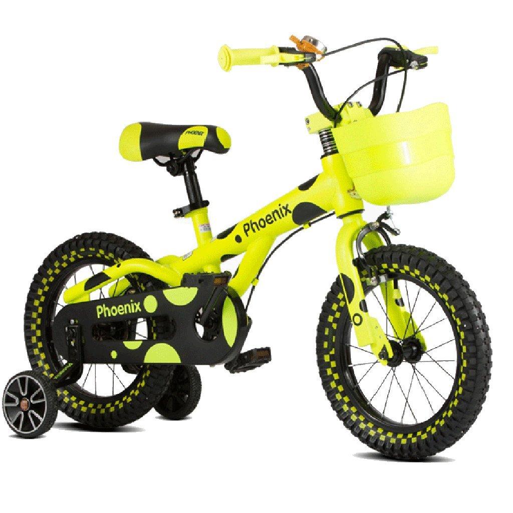 Biciclette Bici per Bambini Bambini tricicli per Bimbi Bambini all'aperto Veicoli per Bambini (Colore   giallo, Dimensione   16 Inches)