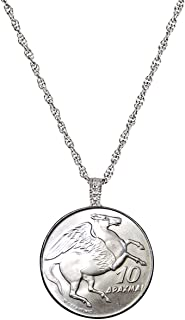product image for Greek Pegasus Coin Pendant Necklace | 24 inch Rope Chain, Lobster Claw Clasp | 10 Drachma Coin from Greece
