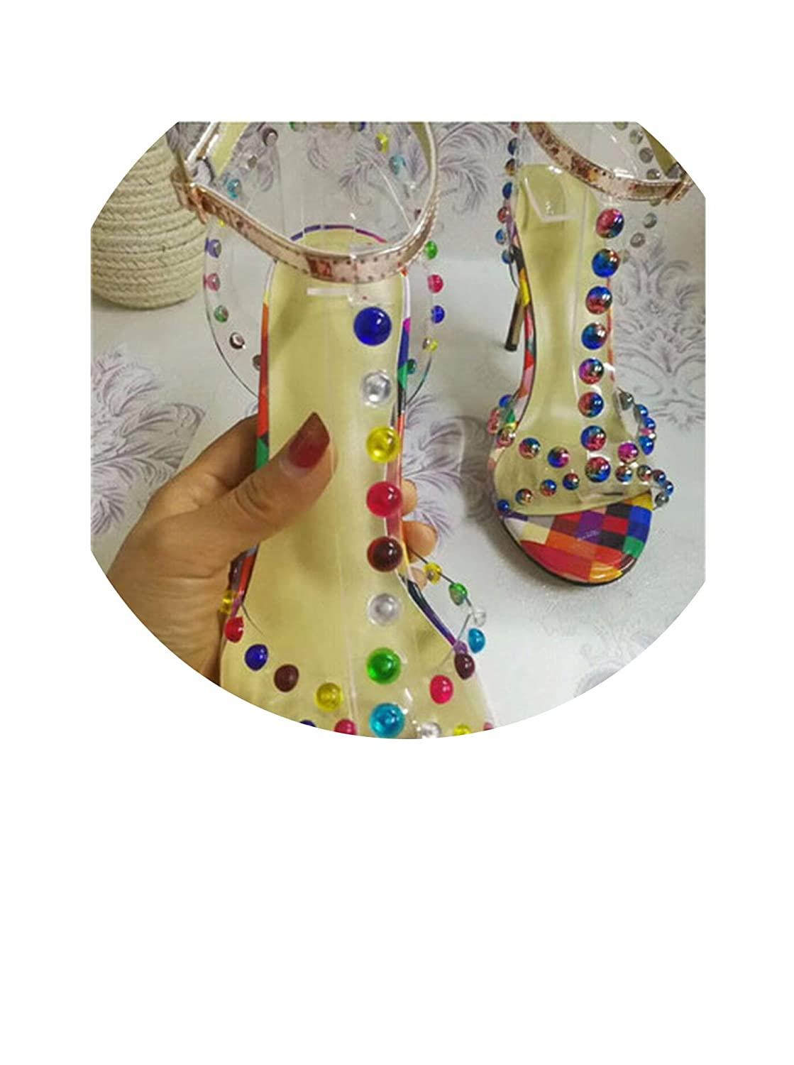 Small Rivet Mixed color Rivet Balls Summer Stilettos Sexy Transparent PVC Open Toe Thin Heel Sandals T-Strap Sandalias Women