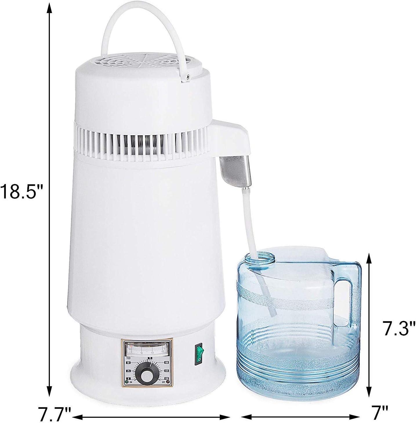 Plata Moracle Destilador de Agua de Acero Inoxidable 750W Destilaci/ón de Agua Destilador de Agua de 4 L