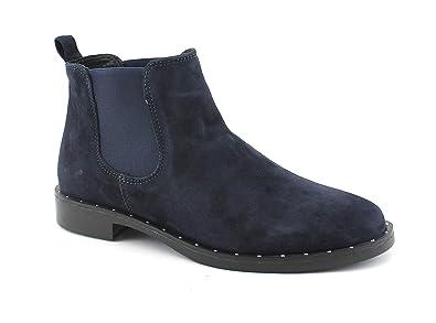 9827e7ac5074 Grunland ZIGO PO1433 Chaussures Bleues Femme Mid Beatles Bottes élastiques  Bottines en Daim  Amazon.fr  Chaussures et Sacs
