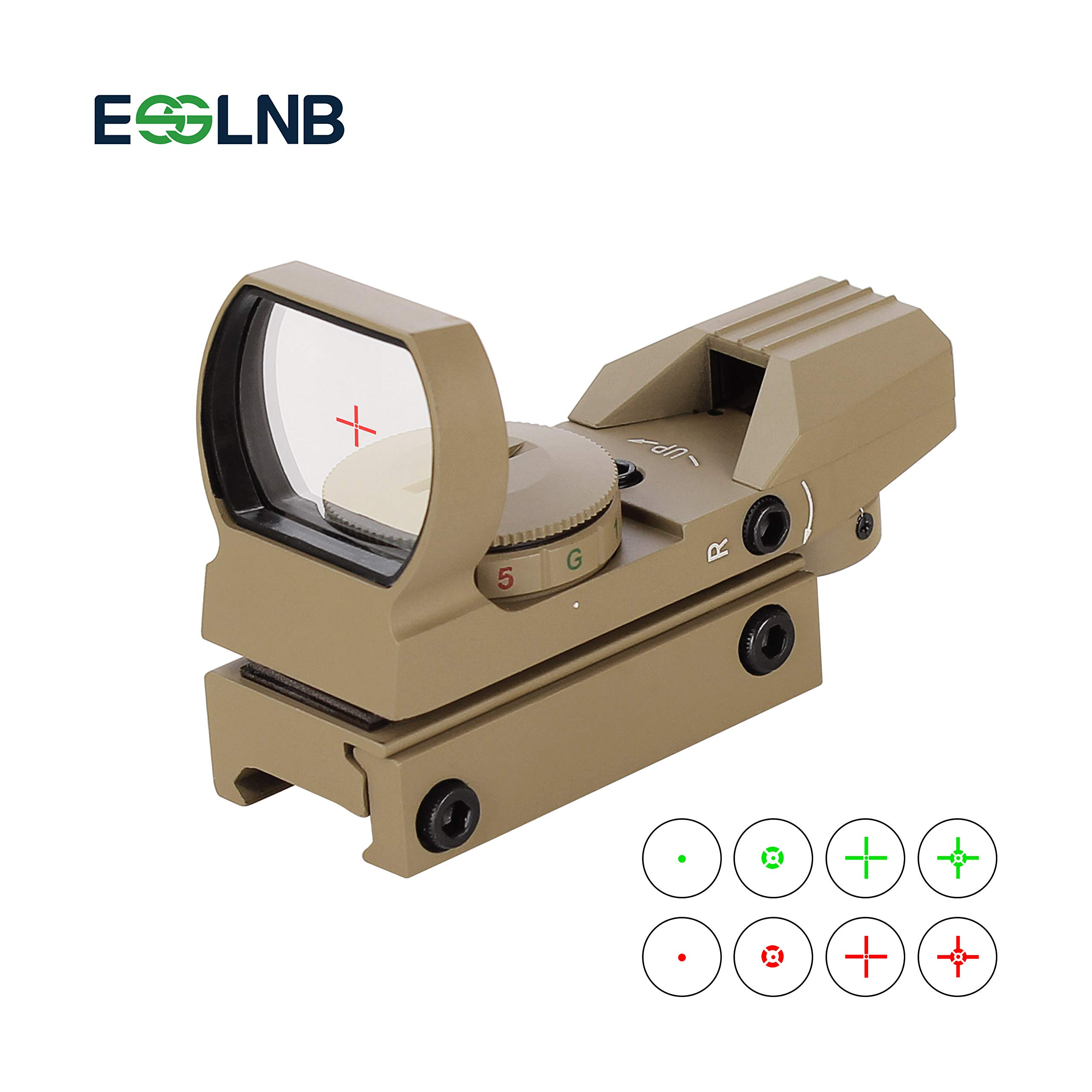 ESSLNB Red Green Dot Sight Reflex Sight Scope with 4 Reticles and 20/22mm Rail Mounts Waterproof Shockproof with 5 Adjustable Brightness (Sand-Color Sight Scope) by ESSLNB