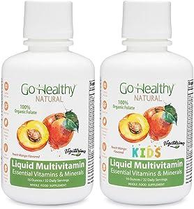 Go Healthy Natural Kids + Adult Liquid Multivitamin with Organic Folate Vegetarian Plant-Based Bundle