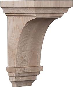 """Ekena Millwork CORW03X03X06JERW Wood Corbel, 3 1/2""""W x 3 3/4""""D x 6""""H, Rubberwood"""