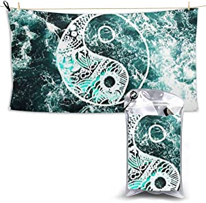 Yin Yang Microfiber Beach Towel, Quick Dry Large Beach Blanket Absorbent Sand Free, Travel Beach Towel for Girls Women Men Adults