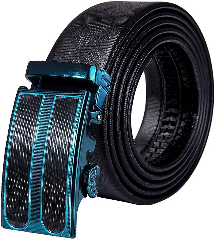 DiBanGu Cinturón de trinquete para hombre, de piel auténtica, cinturón de diseño automático, cinturón de vestir para hombre