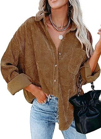 Dokotoo Womens Corduroy Button Down Shirts Boyfriend Long Sleeve Oversized Blouses Tops