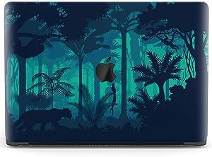 Mertak Hard Case for Apple MacBook Pro 16 Air 13 inch Mac 15 Retina 12 11 2020 2019 2018 2017 Cover Laptop Clear Print Touch Bar Jungle Plastic Wild Rainforest Sloth Night. Leopard Palm Design