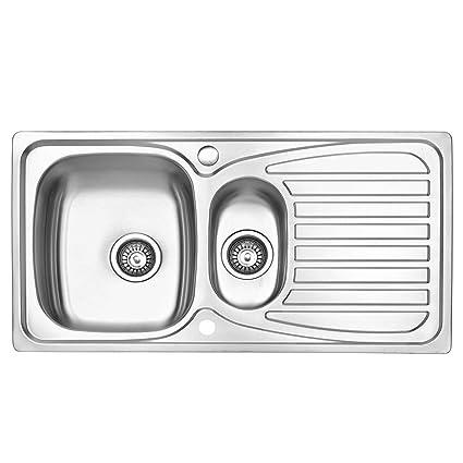 JASS FERRY – Fregadero de cocina, acero inoxidable, 1,5 senos, reversible, con trampilla para residuos, tuberías y clips