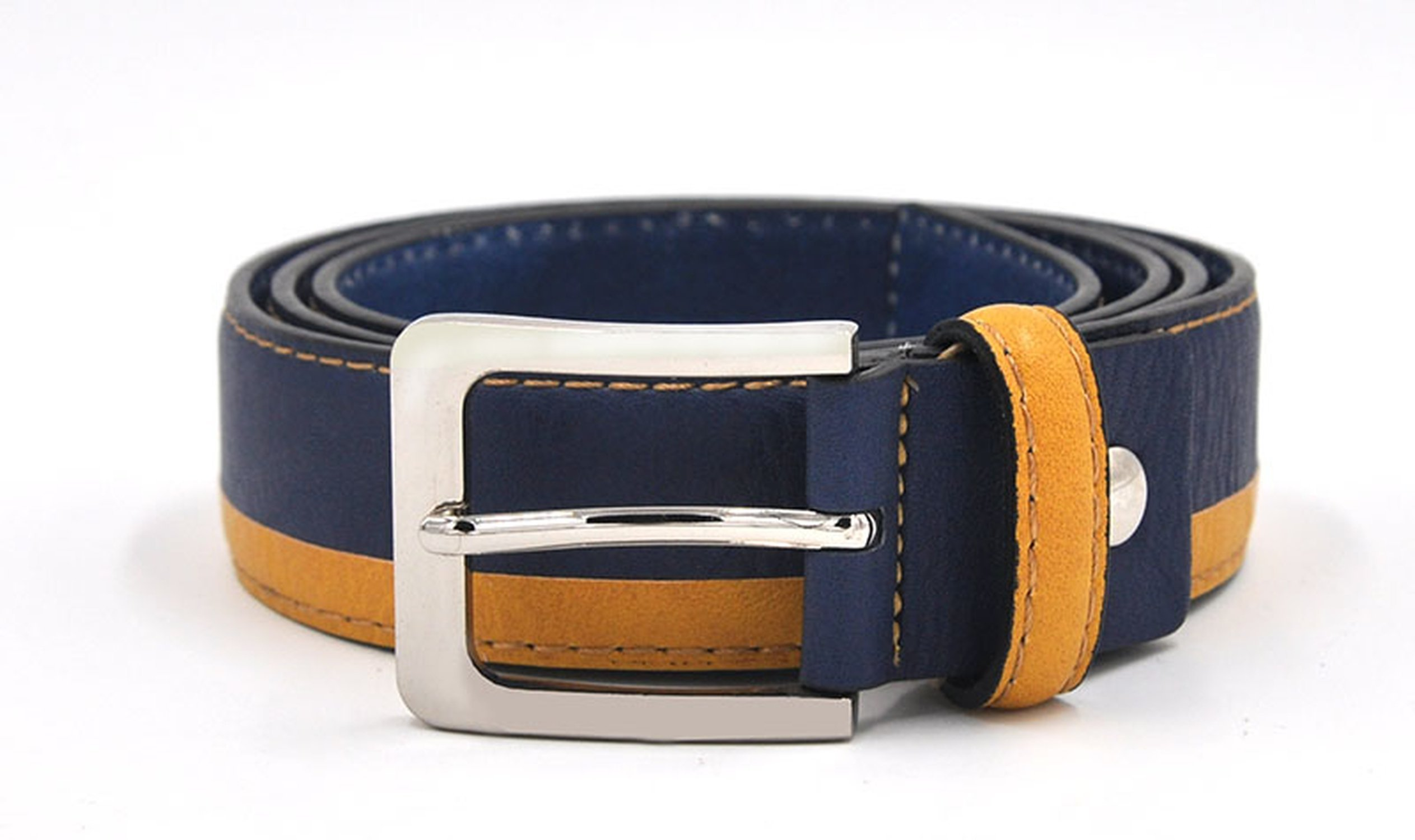 Young Man Leather Belt Italian Design Casual Men's Belts,Blue Yellow,100cm 32to35 Inch