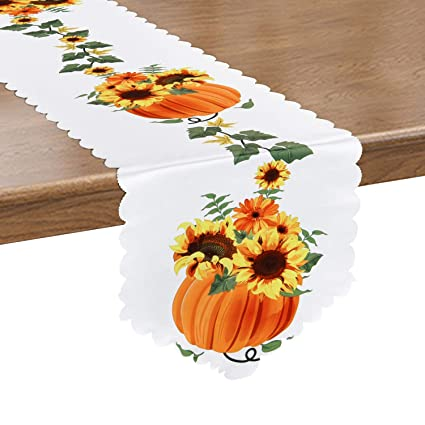 Pumpkins and Sunflowers Table Runner Orange Fall Harvest Table Runnera for Thanksgiving Day, Autumn, Fall, Catering Events, Dinner Parties, Wedding, Indoor and Outdoor Parties(14 × 70 inches) best thanksgiving table runners