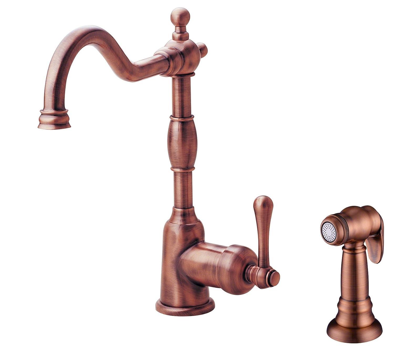 danze d401157ac opulence single handle kitchen faucet with side spray antique copper amazoncom