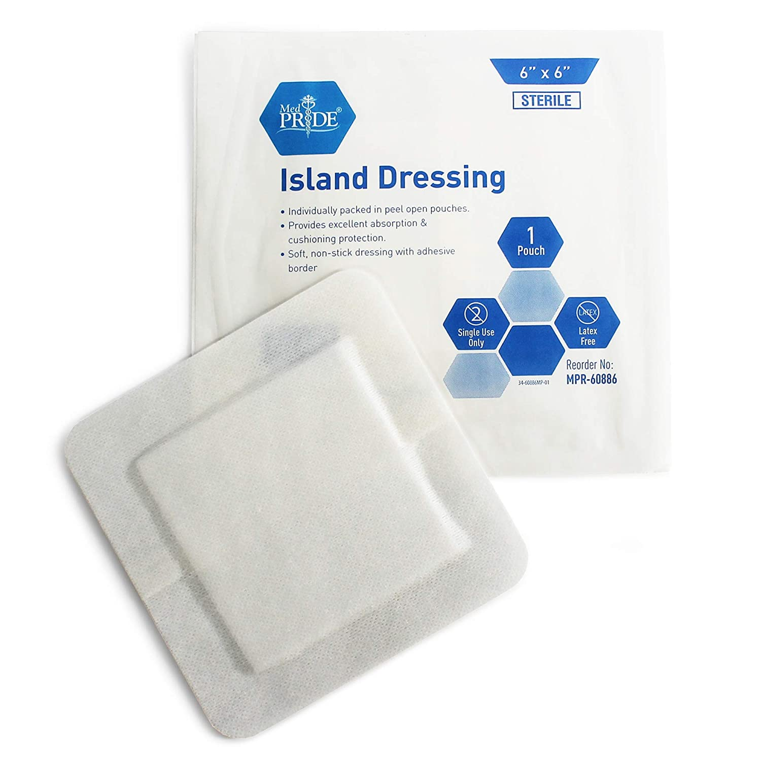 """Medpride 6"""" x 6"""" Bordered Gauze-Island Dressing