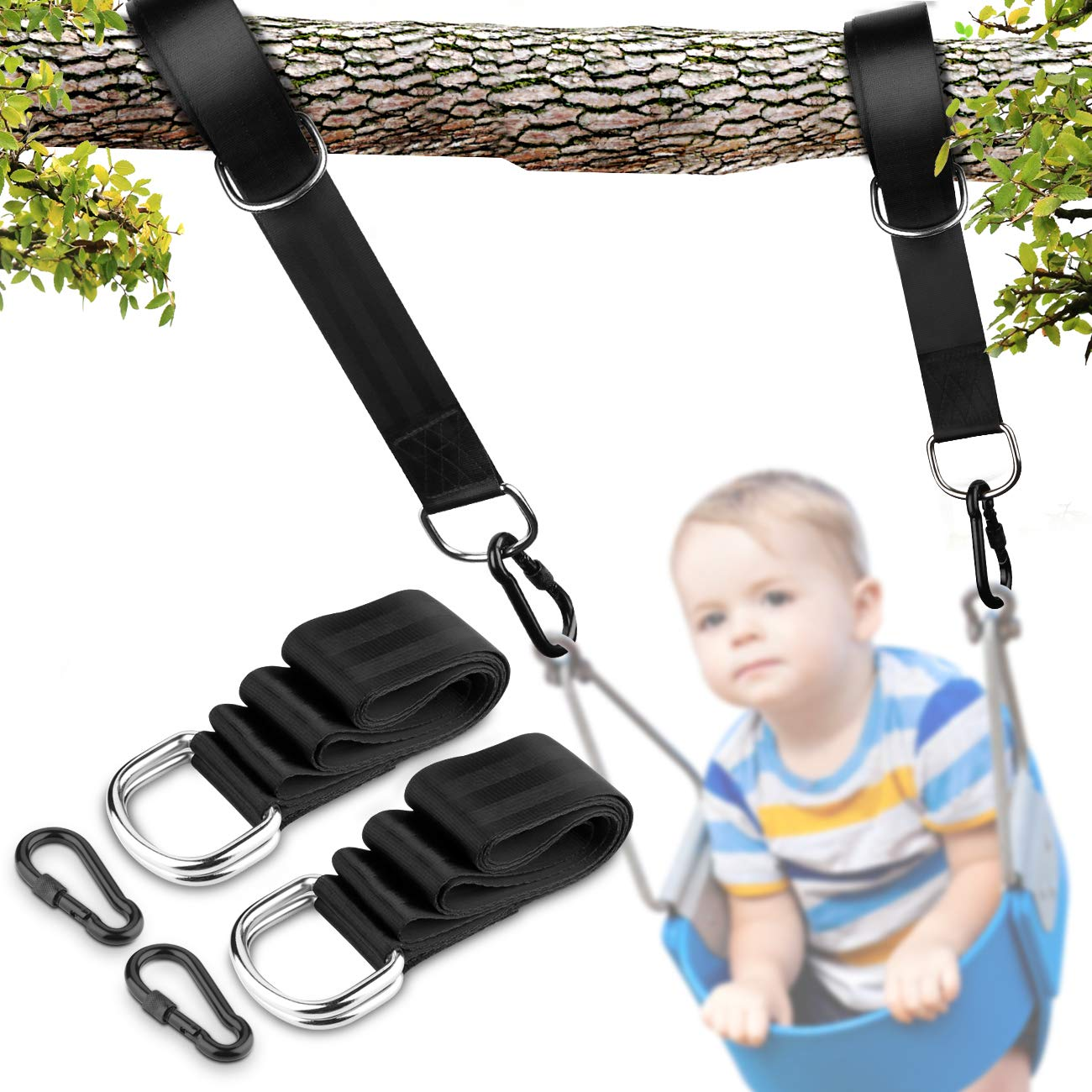 Tree Swing Hanging Strap Kit - Up To 2000 lbs Weight Supporting, 5 ft Long and 2 inches Wide Swing Straps Kit Perfect for Tree Swing and Hammocks for Both Kids and Adults