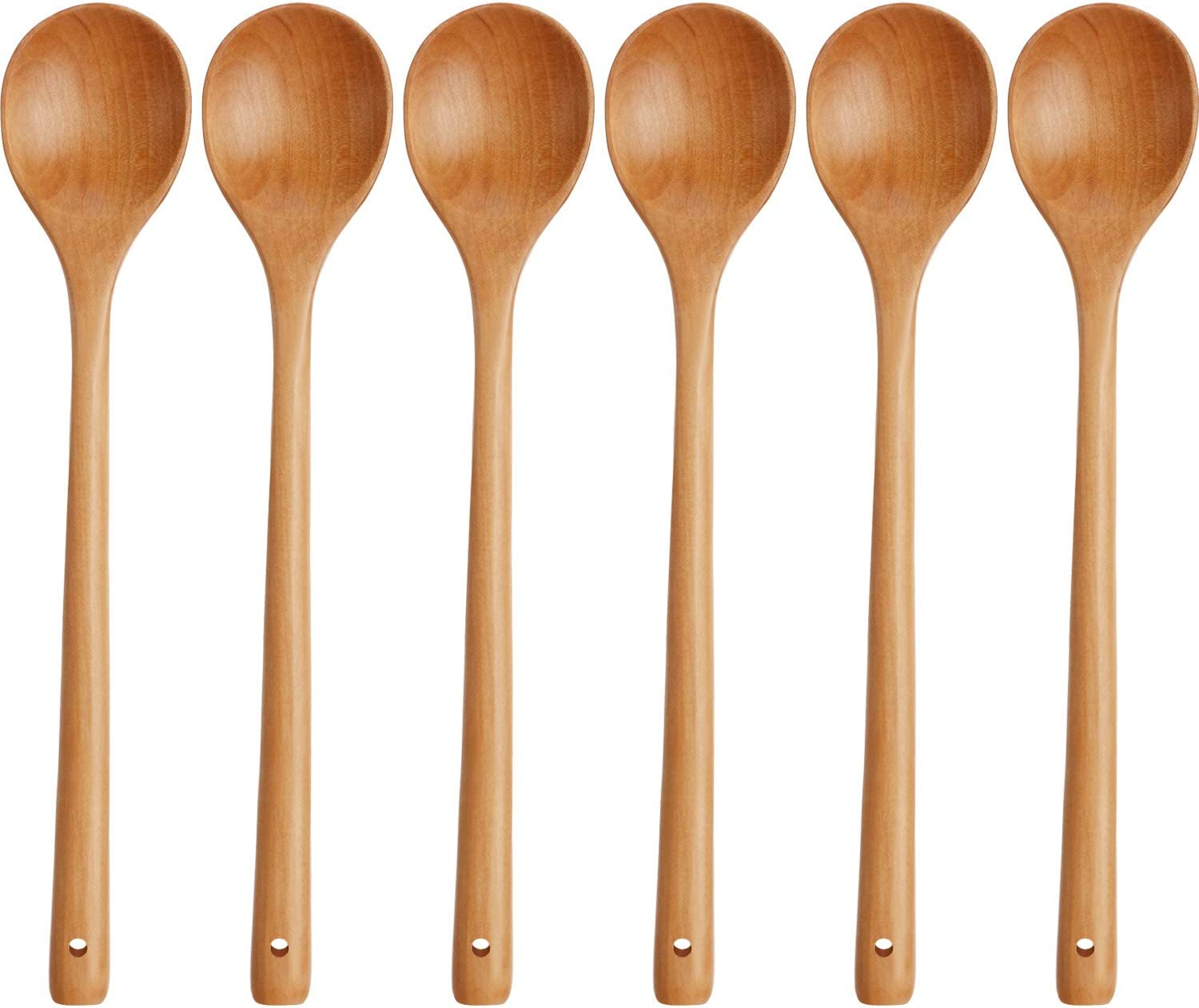 Wood Mixing Spoon Long Handle Wooden Spoons Wood Soup Spoons for Kitchen Stirring and Cooking, 13 Inches Long (6)