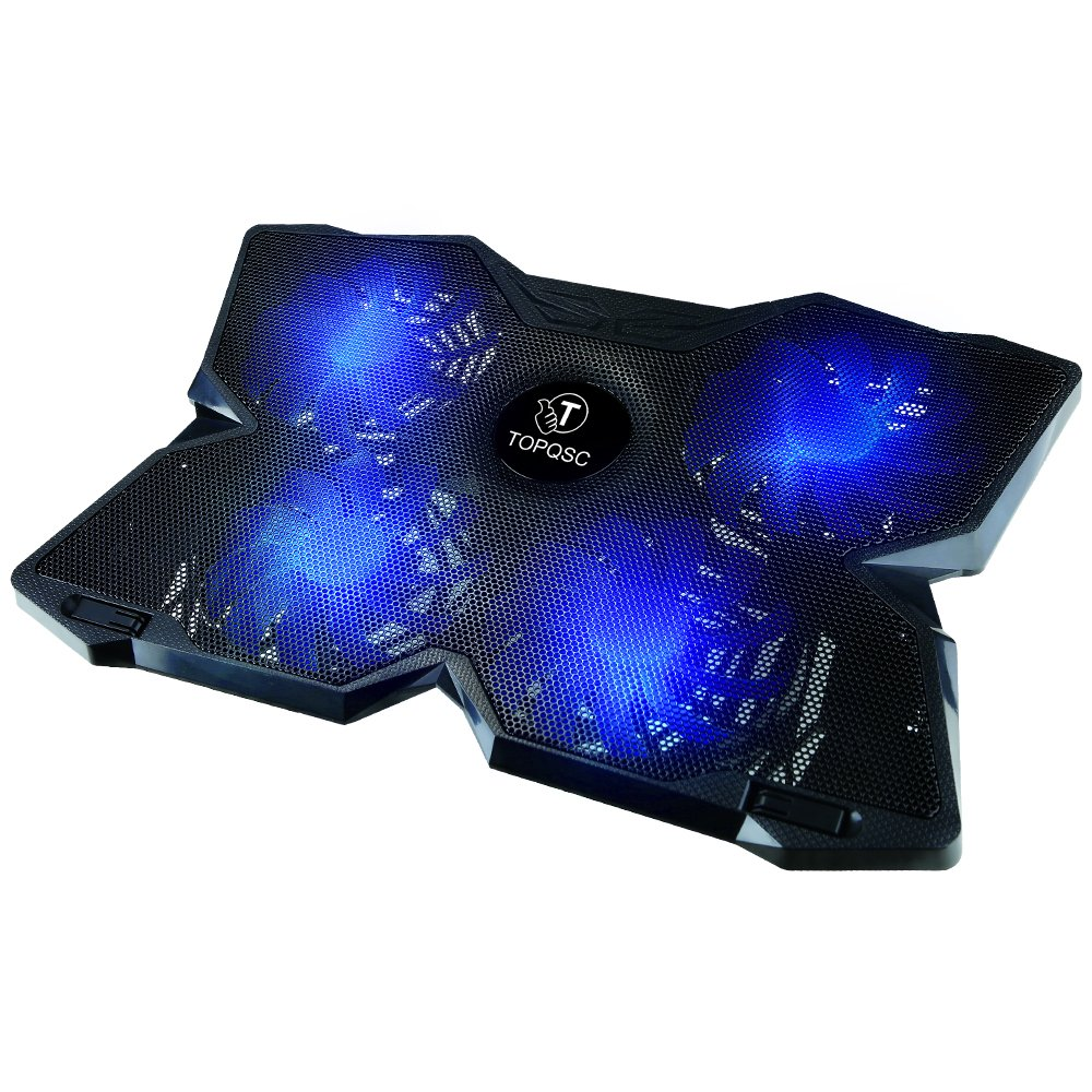 TOPQSC Cooling Fans, New Laptop Cooling Pad for Gaming, Ultra-Portable Laptop Cooler for 15.6 Inch -17 inch Notebooks with 4 Fans 120mm - Black & Blue