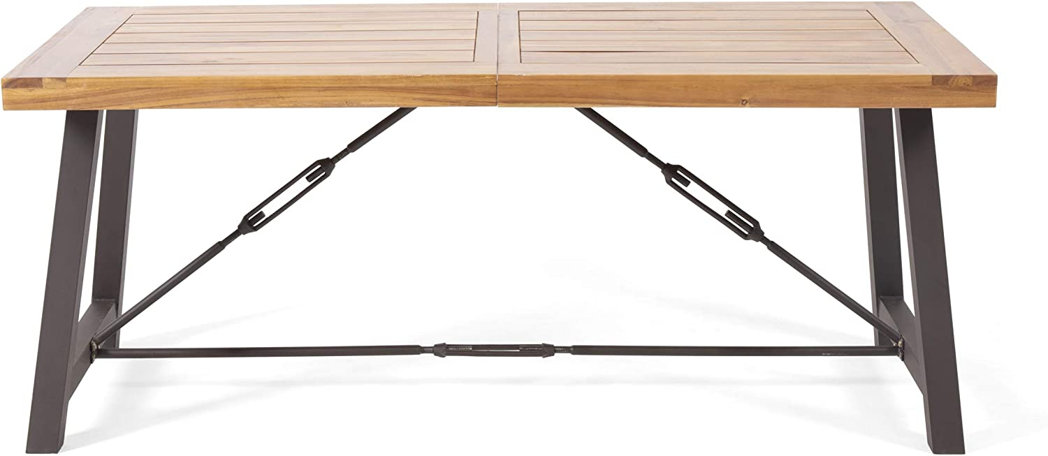 Christopher Knight Home 312258 Obharnait Industrial Dining Table, Teak Finish, Rustic Metal