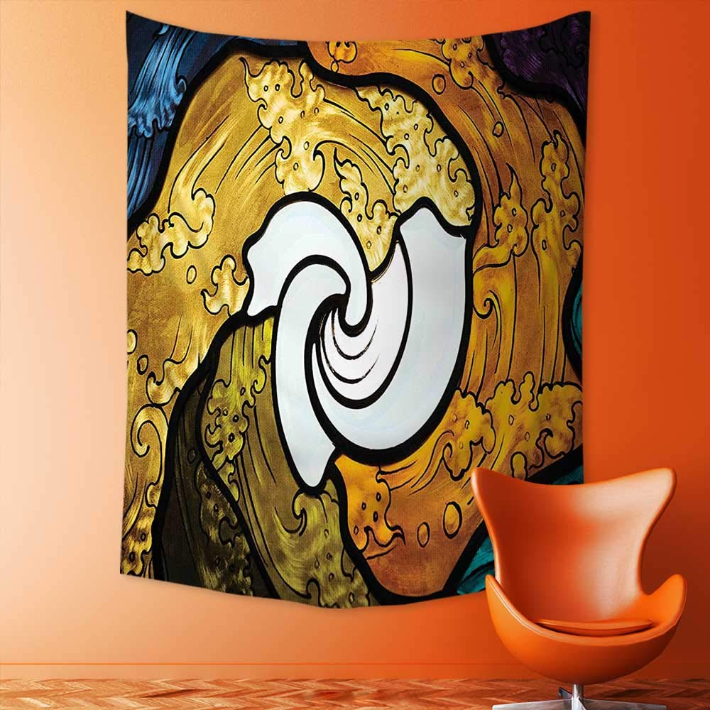 Analisahome Wall Tapestry Home Decor Pop Art Style Funky Unusual Stained Glass Window Thai Art Pattern Traditional Image Tapestries for dorms