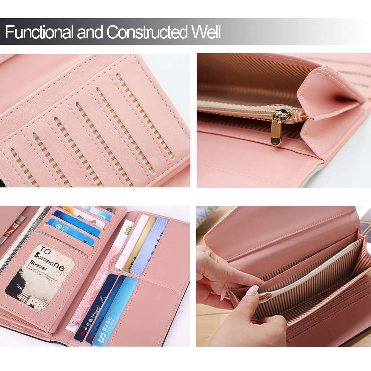 Womens Leather Wallet Purse Handbag Floral Money Clips Credit Card Case Holder by Uopen Endy (Image #5)