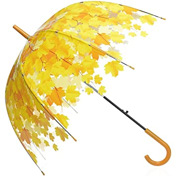 Paraguas Transparente, Fansport Paraguas De La Cúpula Paraguas Automático Patrón de Hojas