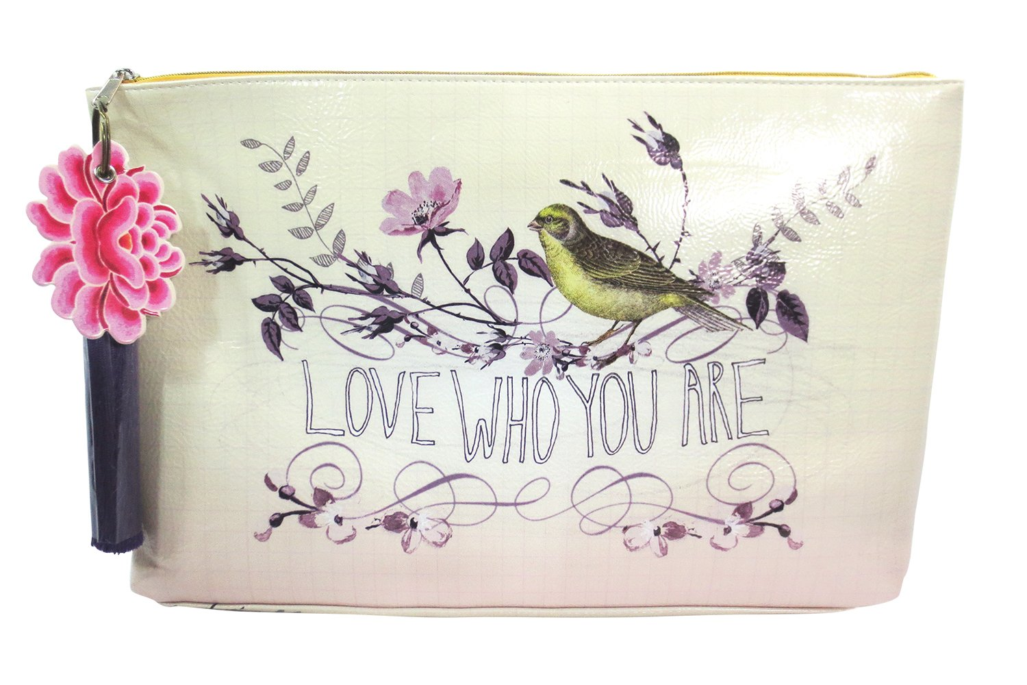 Vintage Inspired Bird & Floral Art '' Love Who You Are'' Large Make-up or Accessory Travel Bag