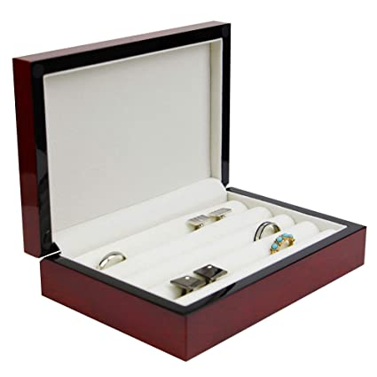 ea6064f2d Executive High class wood Cufflink Case & Ring Storage Organizer unisex Jewelry  Box Gift (Chestnut): Amazon.ca: Home & Kitchen