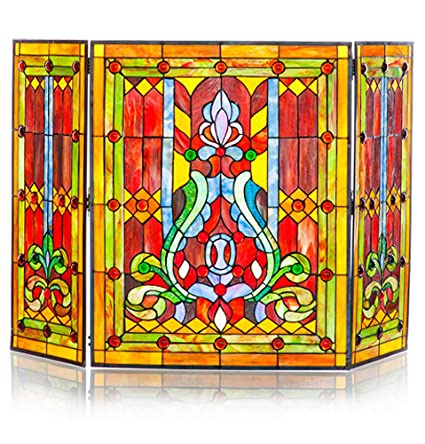 amazon com river of goods fireplace screen stained glass tiffany rh amazon com stained glass fireplace screen frame stained glass fireplace screen ebay