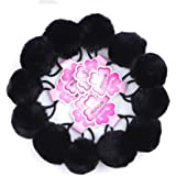 RufnTop HERA Baby Seamless Elastic Hair Ties, Ponytail Holder, PomPom Hair Band(Multiful Color 12~120pcs)