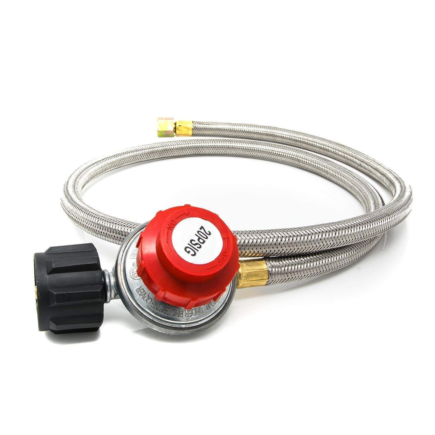 GasOne 2113 QCC-1 Type Hose-CSA Certified-Works with Newer U Gas One 4FT High Pressure Propane 0-20 PSI Adjustable Regulator with 4, Steel Braided