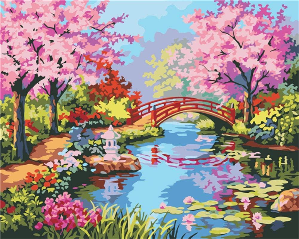 NHBTGH Pintura al óleo Digital sin Marco de DIY Paisaje del Puente del Jardín De Primavera Pintar por Numeros con Pinceles para Manualidades para decoración de hogar 40x50 cm