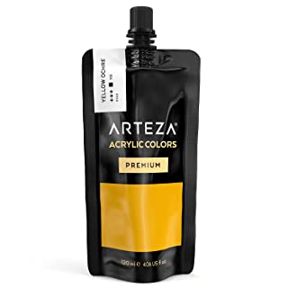 ARTEZA Acrylic Paint, Yellow Ochre Color, (120 ml Pouch, Tube), Rich Pigment, Non Fading, Non Toxic, Single Color Paint for Artists, Hobby Painters & Kids